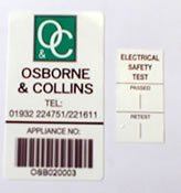 Bar Code System of Labelling - Portable Appliances that have been PAT Tested are labelled with the PAT Test results and date of next PAT Test